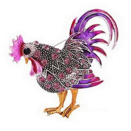 Lilac and Purple Crystal Rooster Brooch