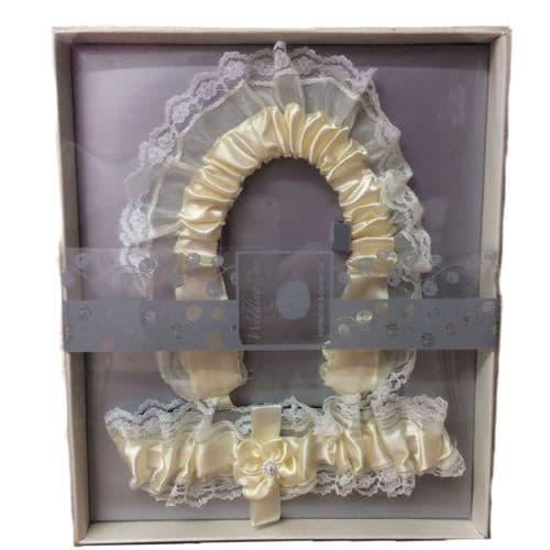 Lucky Wedding Horseshoe & Garter Gift Set