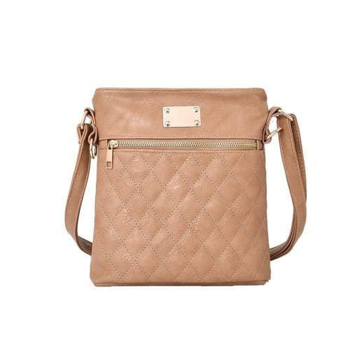 Maggie Quilted Crossbody Bag in Beige