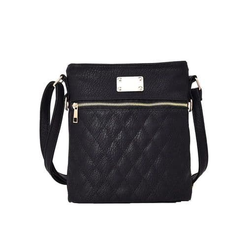 Maggie Quilted Crossbody Bag in Black