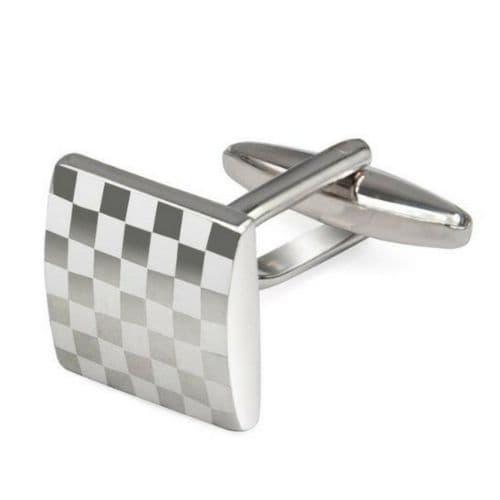 Mens Silver Colour Square Checkerboard Cufflinks