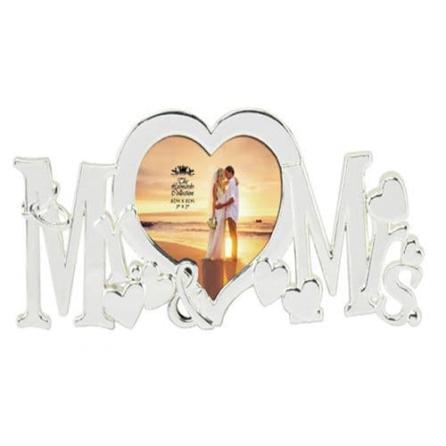 Mr & Mrs Silver Plated Photo Frame from The Leonardo Collection