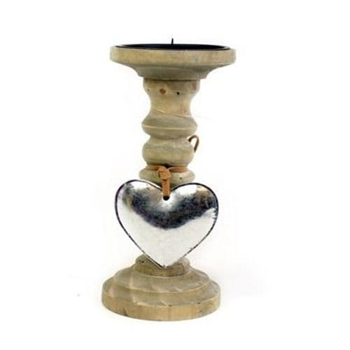 Natural Wooden Candle Stick with Hanging Silver Heart