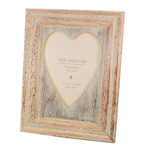 New England Lime Washed Wooden Photo Frame