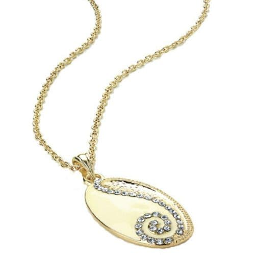 Oval Cream and Gold Colour Crystal Pendant Fashion Necklace