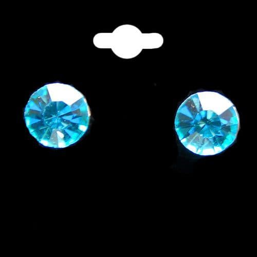 Pale Blue Round Stud Earrings