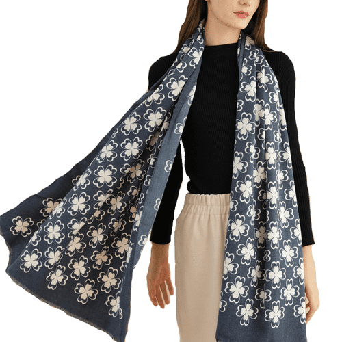 Petaled Blossom Design Cashmere Scarf in Blue