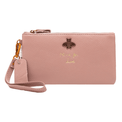 Pink Bumble Bee Design Leather Purse