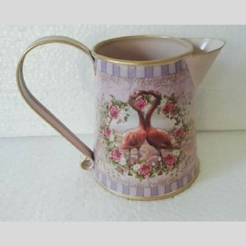Pink Flamingo Heart Design Metal Jug