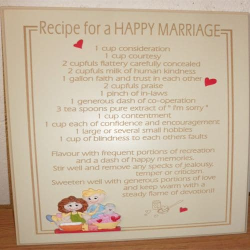 Recipe For a 'Happy Marriage' Sign