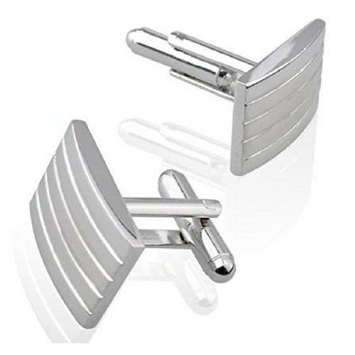 Rectangle Silver Coloured Indented Cufflinks