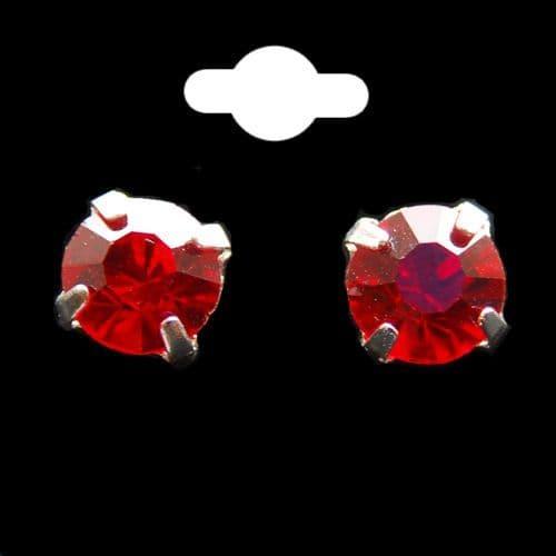 Red Crystal Stud Earrings