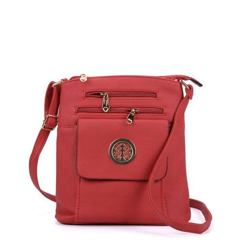 Red Doubled Zipped Crossbody Handbag