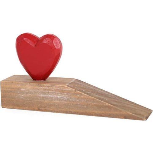 Red Heart Wooden Doorstop
