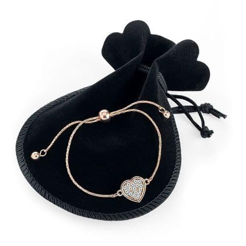 Rose Gold Colour Adjustable Heart Design Bracelet