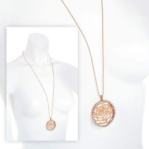Rose Gold Colour Crystal Flower Design Necklace