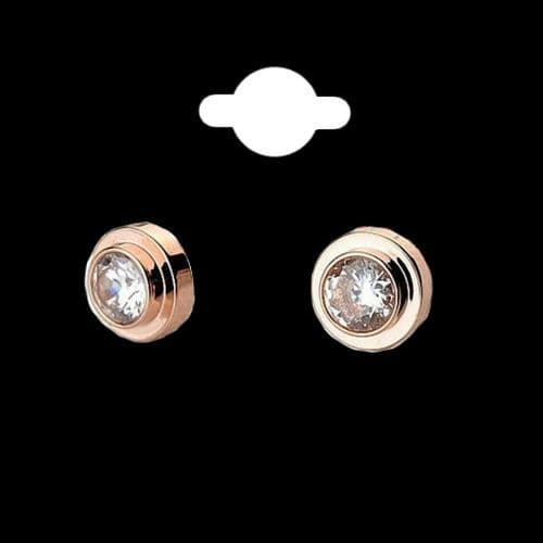Rose Gold Plated Round Cubic Zirconia Stud Earrings