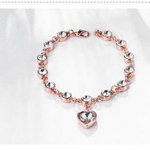 Rose Gold Plated Tennis Bracelet with Heart Pendant