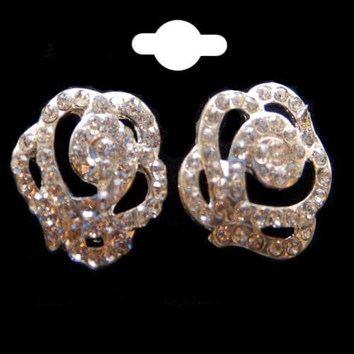 Rose Head Design Earrings presented in a Silver Colour & Crystal