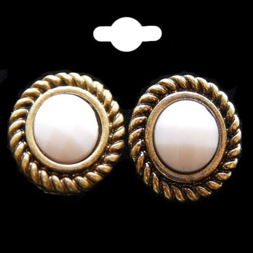 Round Stud Earrings in White Trimmed in an Antique Gold