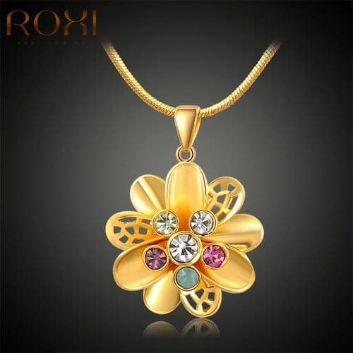 Roxi Yellow Gold Necklace with a Flower Design Pendant