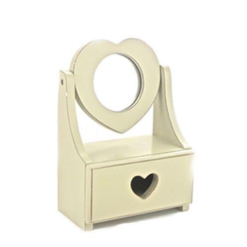 Shabby Chic Small Cream Drawer & Heart Shaped Mirror