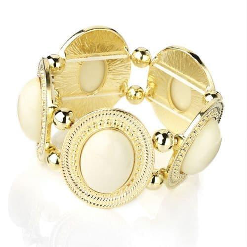 Shiny Gold Colour Elasticated Bracelet with Ivory Coloured Beads