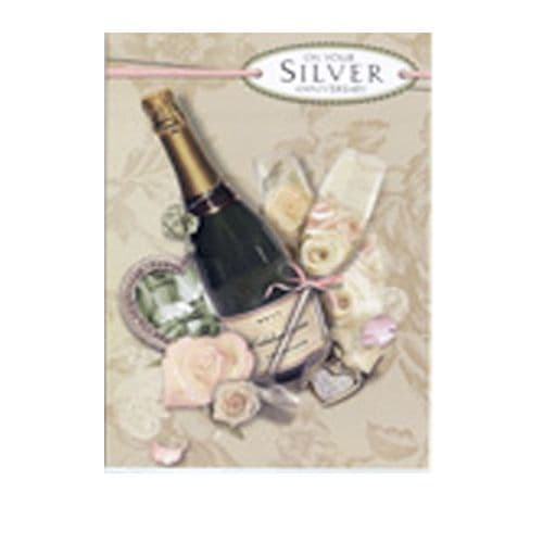 Silver Anniversary Card reads 'On your Silver Anniversary' card by Simon Elvin