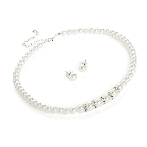 Silver Colour Crystals and White Faux Pearl Graduated Necklace Set