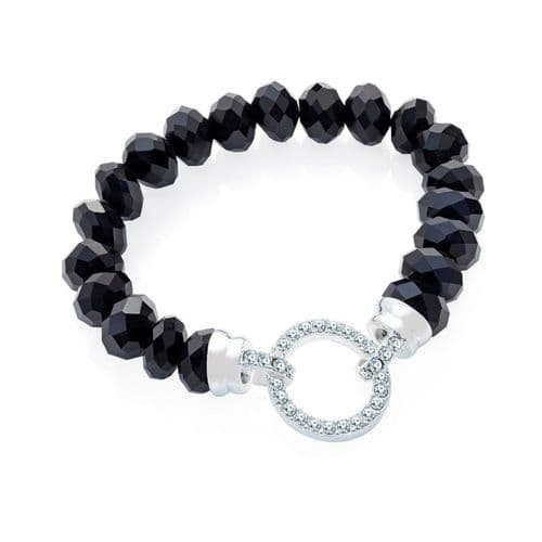 Silver Colour Crystals with a Jet Beads Bracelet