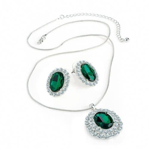 Silver Coloured Chain and Green Crystal Pendant & Earing Set