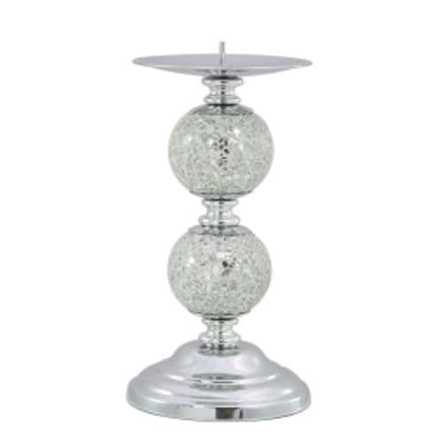 Silver Mosaic Two Ball Candlestick on a Chrome Base