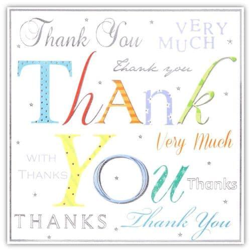 Simon Elvin Multi Coloured Text Thank You Card