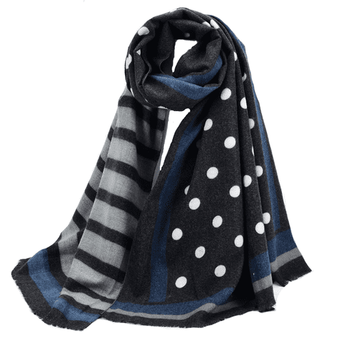 Spot and Stripes Cashmere Scarf in Black