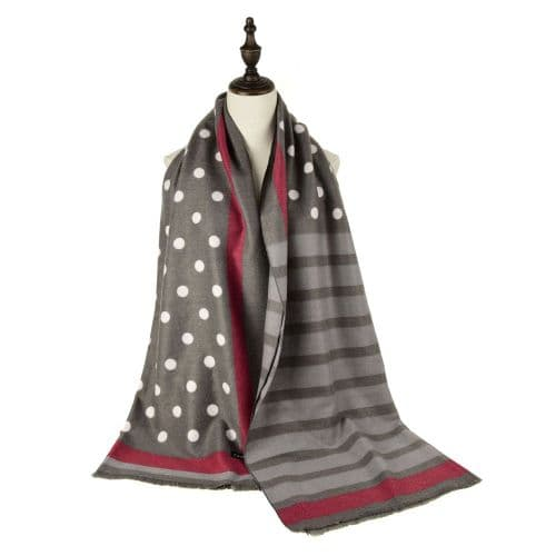 Spots and Stripes Design Cashmere Scarf in Grey