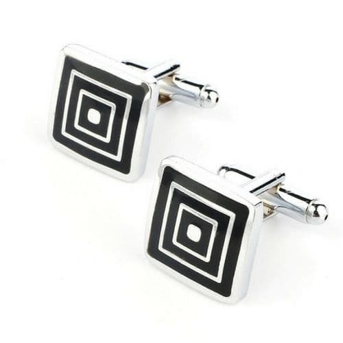 Square Silver and Black Men's Cufflinks
