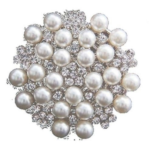 Stunning Cluster of Faux Pearl and Rhinestone Crystal Flower Brooch