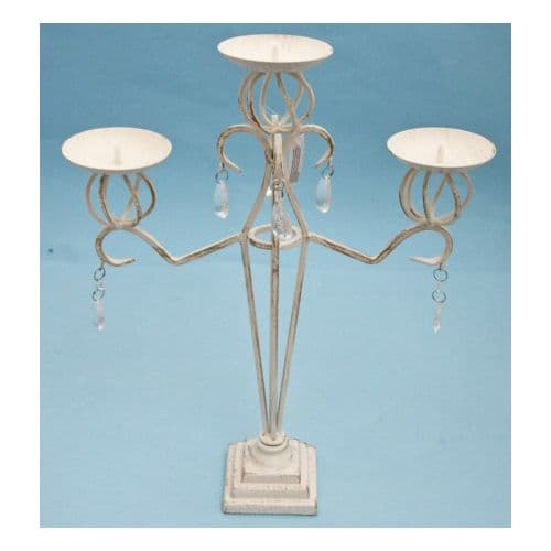 Tall Cream & gold three arm candelabra with crystal and droplets