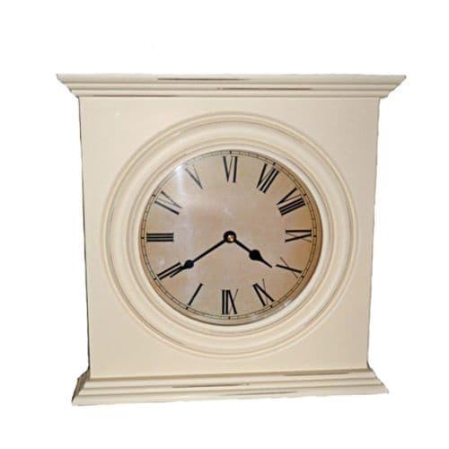 Tall Cream Wooden Mantel Clock