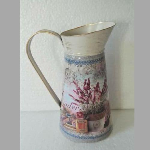 Tall Lavender Design Metal Milk Churn