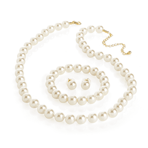 Three piece Jewellery Set, presented in Cream and Faux Pearl Glass Beads