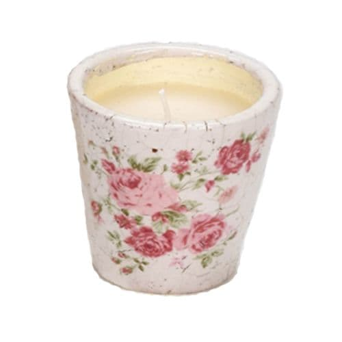 Vintage Design Pink Rose Crackle Pot Candle
