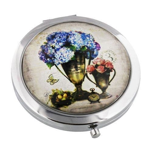 Vintage Inspired Blue Floral Compact Mirror