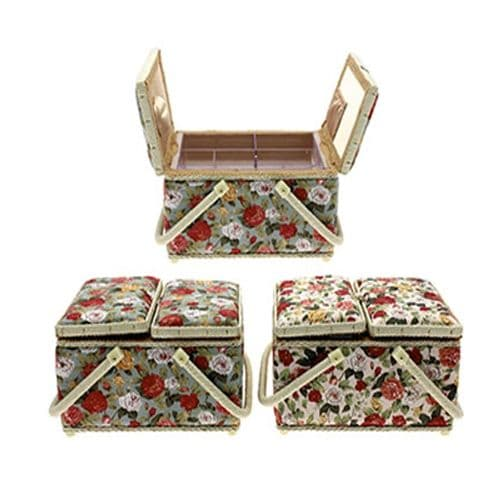Vintage Style Fabric Double Door Sewing Box
