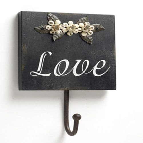 Wall Hook with flowers & Love slogan