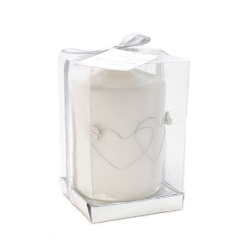 Wedding Candle with Hearts and Gems in clear presentation box