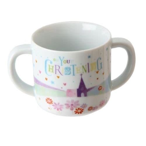 White Ceramic Baby Christening Mug