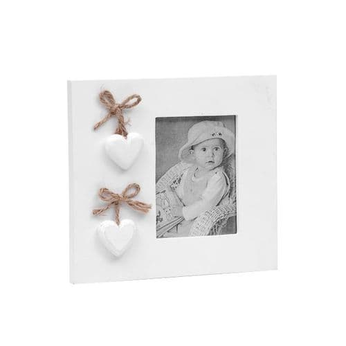 White Hearts Wooden Photo Frame