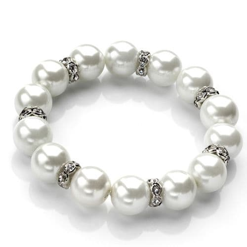 White Pearl Colour and Crystal spacers elasticated Bead Bracelet
