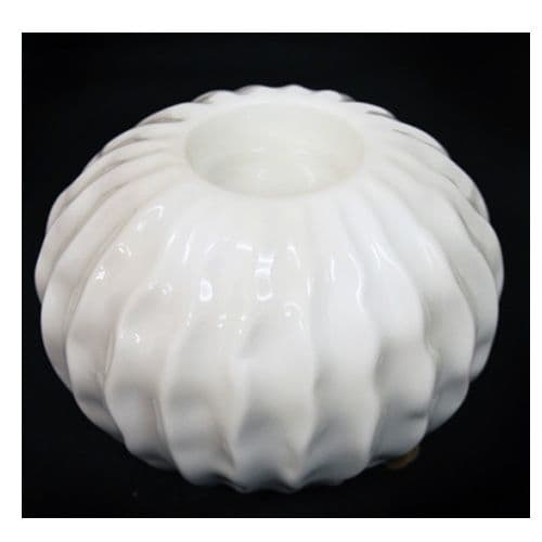White Ripple Design Ceramic tea light holder, with a white glaze